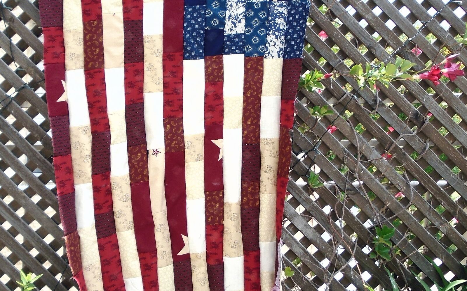 s 10 patriotic projects perfect for your fourth of july party, Patch Different Decorative Fabrics For Quilts