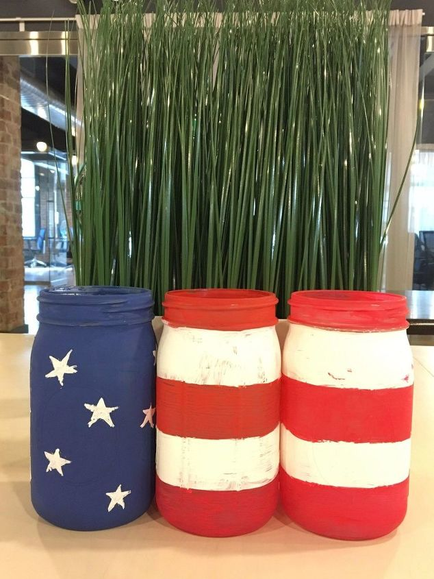 s 10 patriotic projects perfect for your fourth of july party, Paint Stripes On Mason Jars