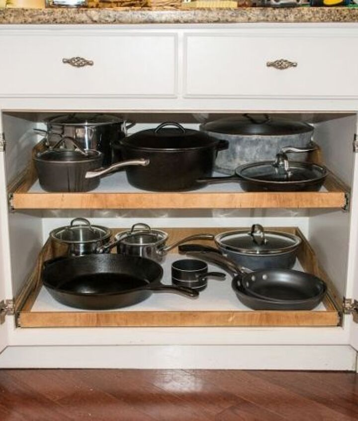 s 15 creative ways to wrangle in your home clutter, Inside Slide Out Shelves