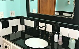 retro black and white bathroom update