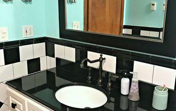retro black and white bathroom update