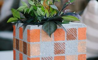cinder blocks turned flower pots
