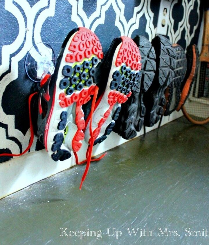 s 30 amazing ways to organize your shoes, Nail plastic hooks in the bottom of a wall