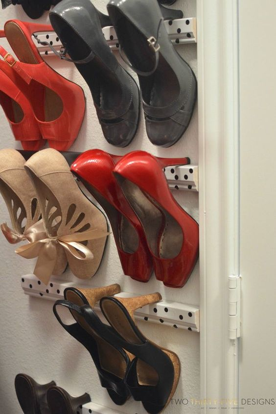 s 30 amazing ways to organize your shoes, Hang heels on an empty closet wall