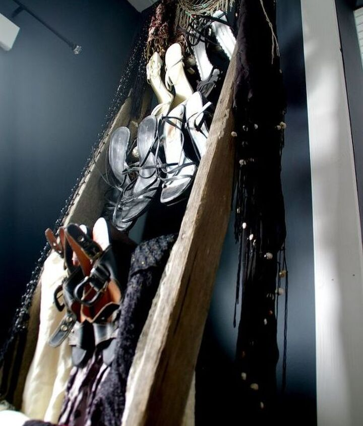 s 30 amazing ways to organize your shoes, Turn an old ladder into instant organization