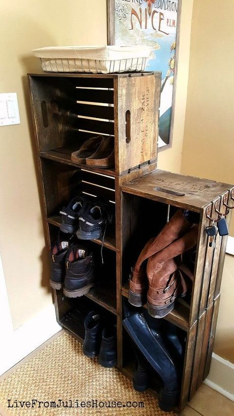 s 30 amazing ways to organize your shoes, Make a rolling shoe cubby for your mudroom