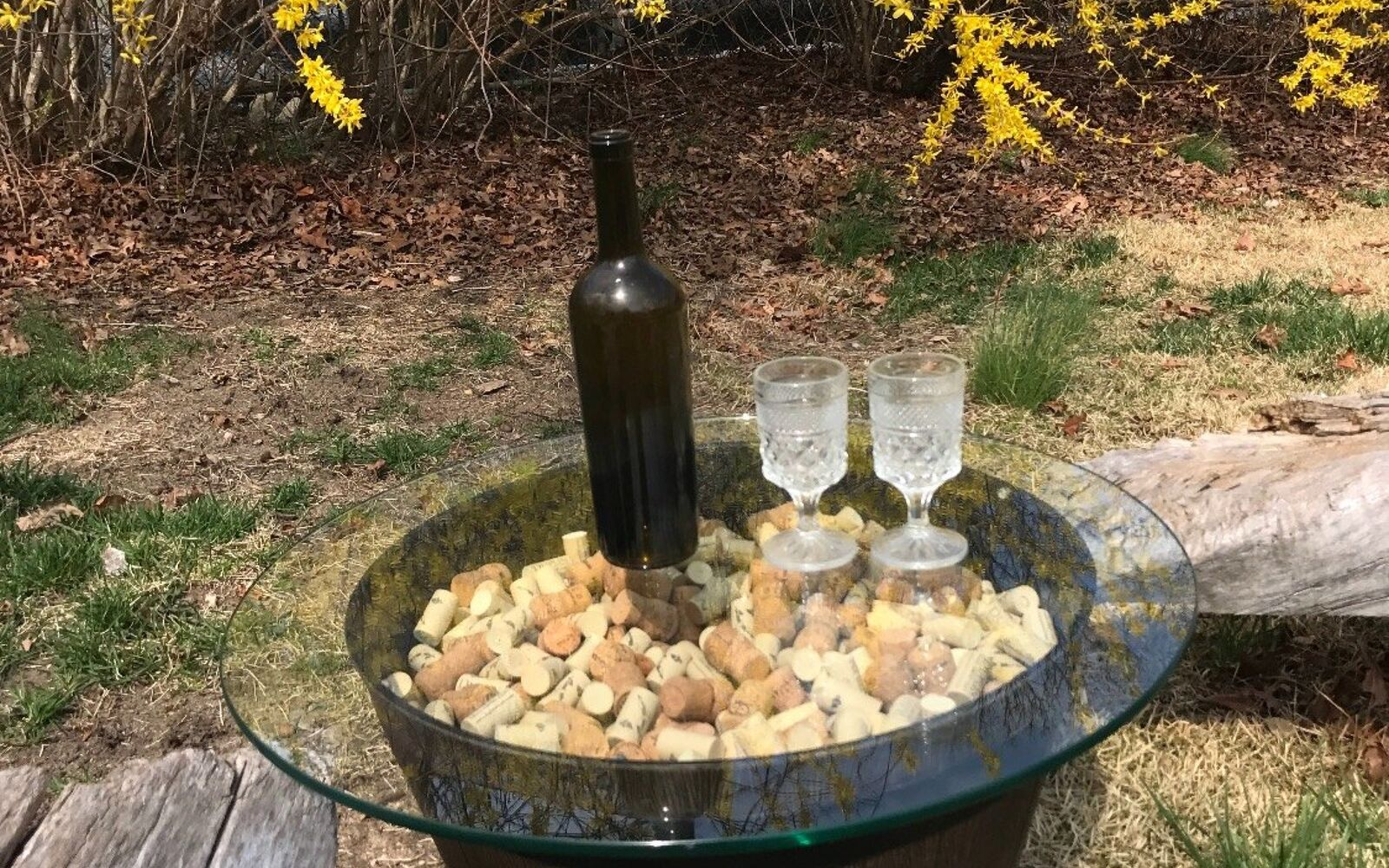 s 15 decorative ways your family can pretty up your patio, Gather Wine Corks For A Table