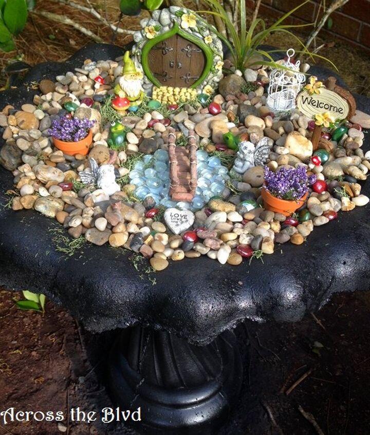 s 15 lovely repurposed items perfect for your garden, Transform A Birdbath Into A Fairy Garden