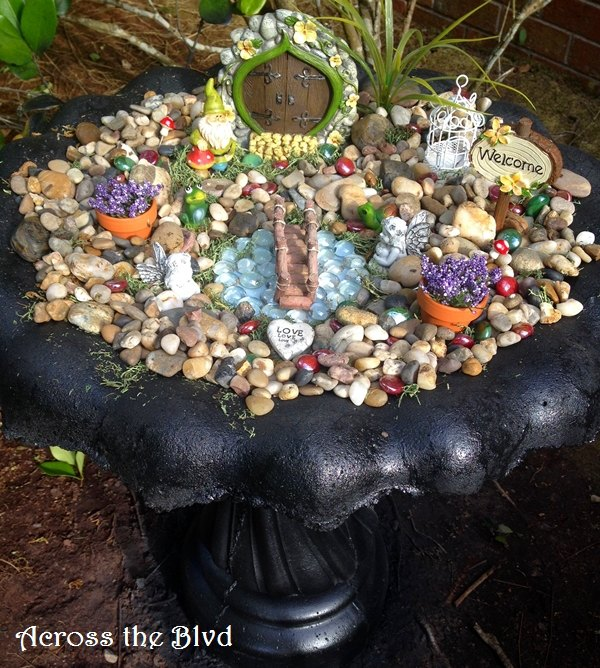s 15 lovely repurposed items perfect for your garden, Transform A Birdbath Into A Fairy Garden