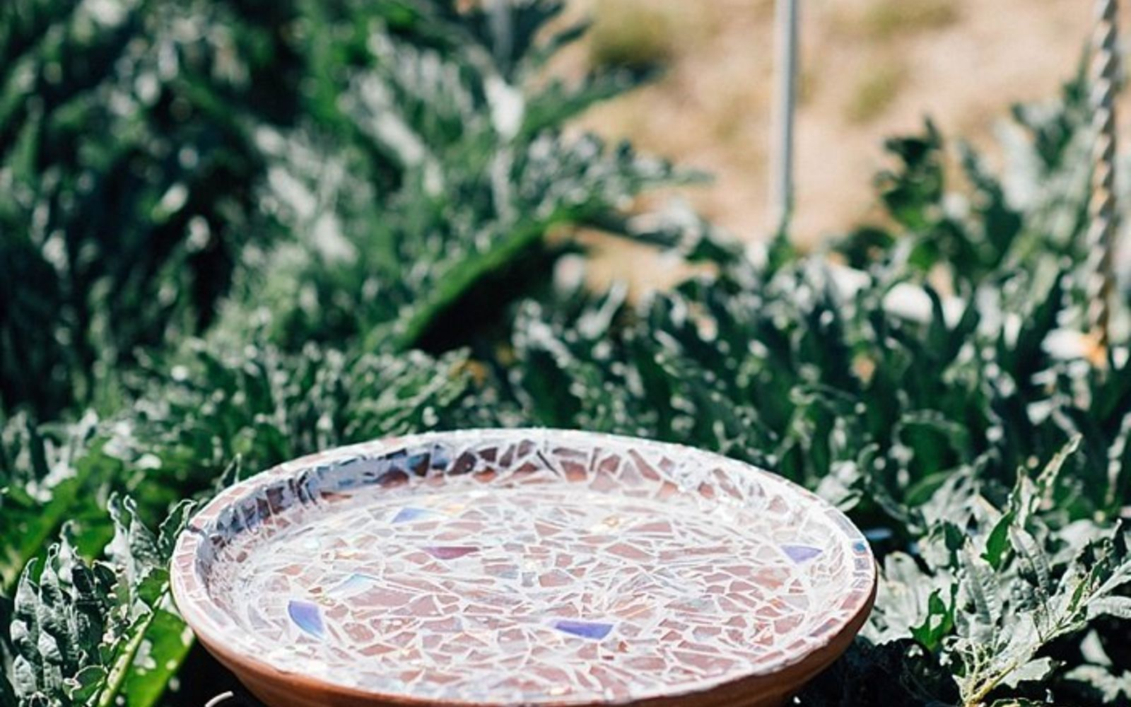 s 15 lovely repurposed items perfect for your garden, Break CDs Into A Shining Birdbath