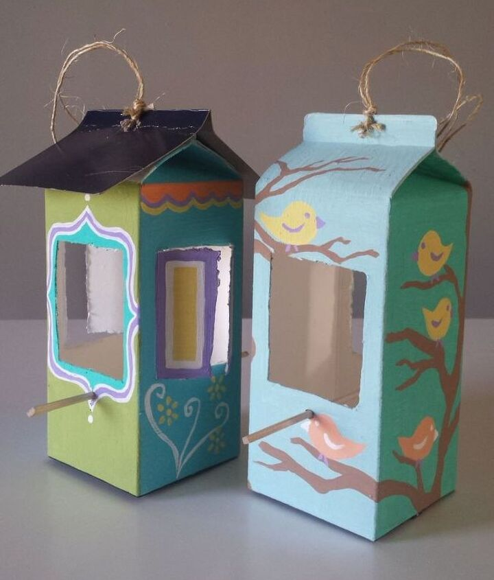 s 15 loving repurpose projects your family can do for birds, Cut A Carton Of Juice Into A Beautiful Feeder