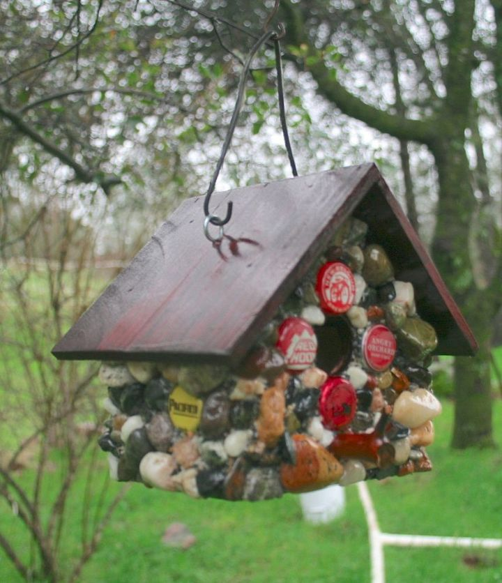 s 15 loving repurpose projects your family can do for birds, Give The Birds A Home With Bottle Caps