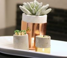 concrete candle holders or put a succulent in it