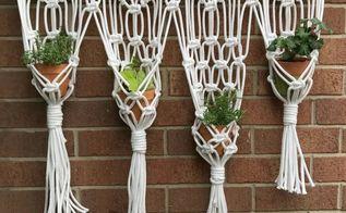 macrame hanging herb garden