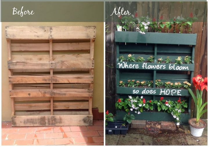 s 31 creative garden features perfect for summer, Add a feel good vertical pallet planter