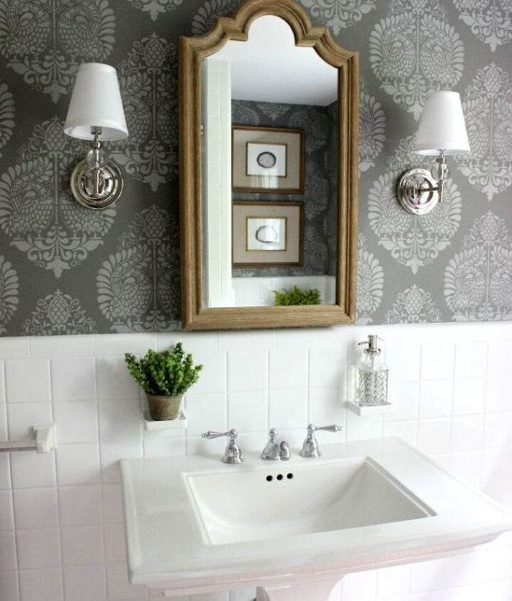 s jazz up your bathroom with these 30 stylish additions, Stencil A Chic Pattern On The Wall