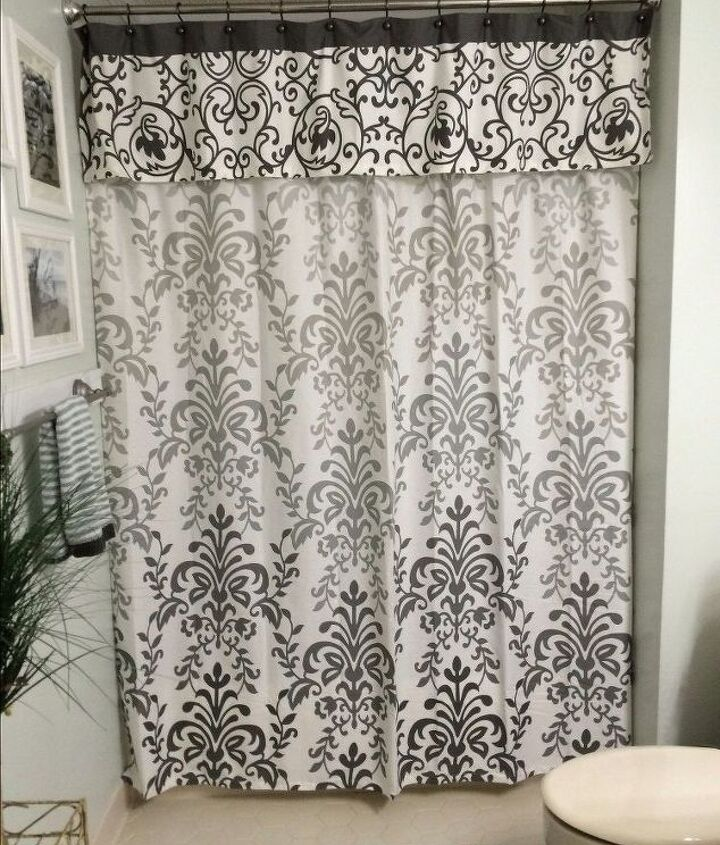 s jazz up your bathroom with these 30 stylish additions, Add A Charming Curtain Valance