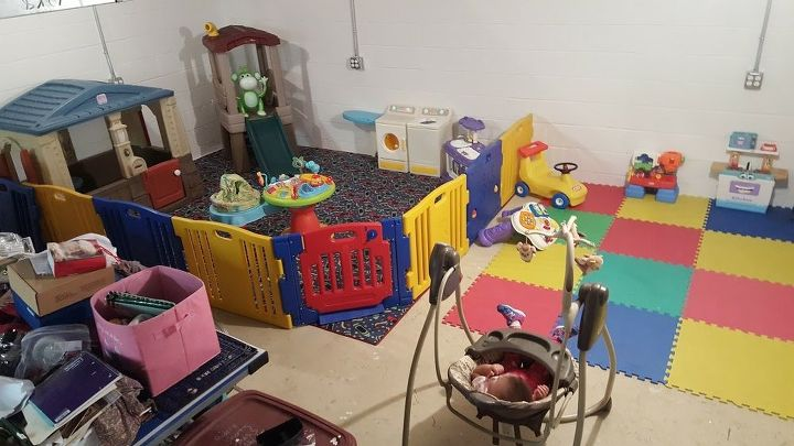 basement playroom on a budget