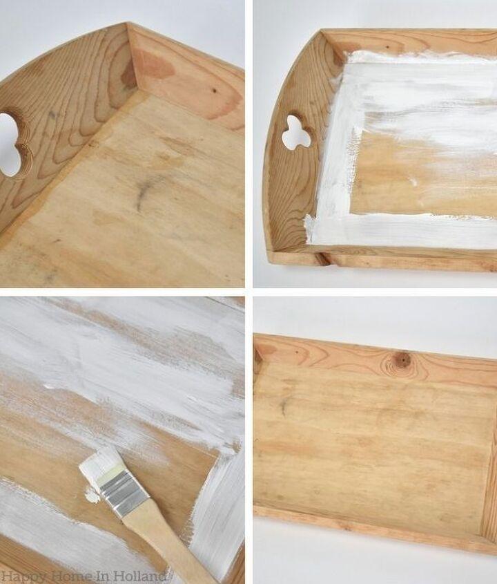 mod podge diy wooden tray makeover