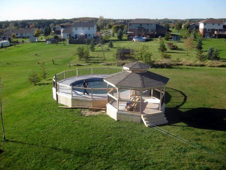 pool deck and gazebo