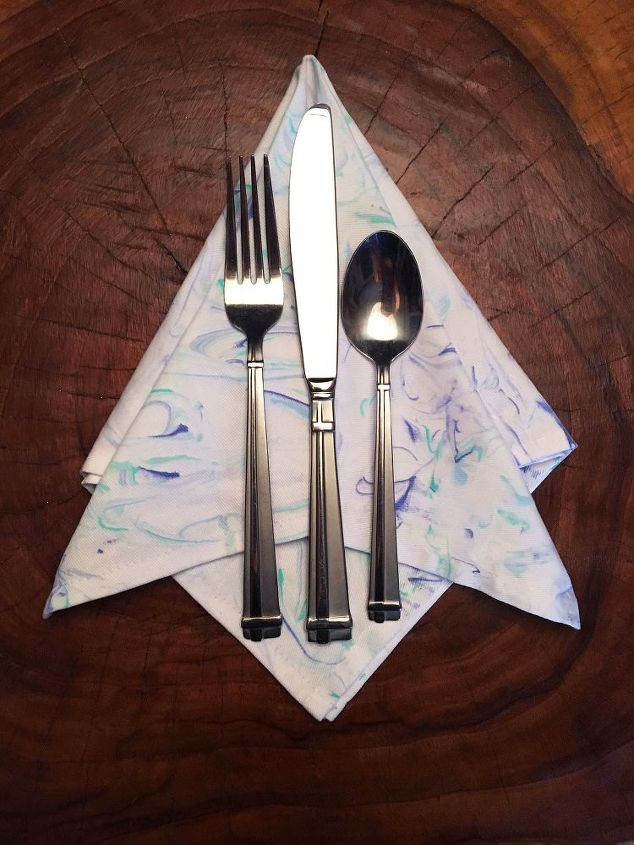 s 10 lovely ways decorate those plain tea towels you have, Spray Shaving Cream For Marbled Towels