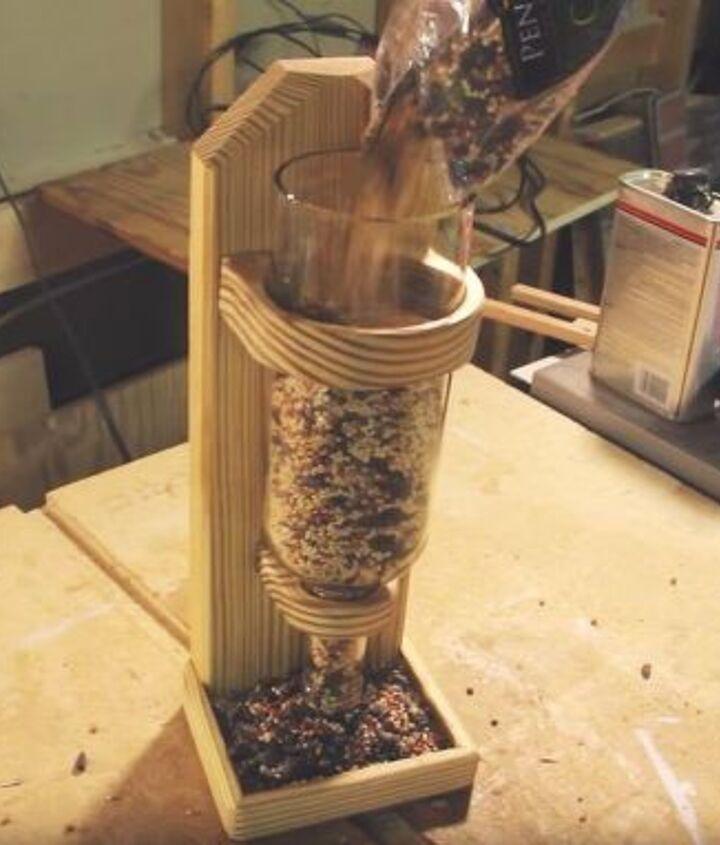 wine bottle bird feeder