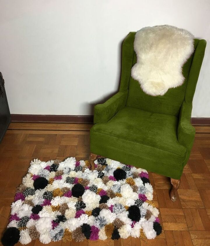 s 10 quick and easy rug ideas to brighten up your space, Fluff Pom Poms Into A Rug