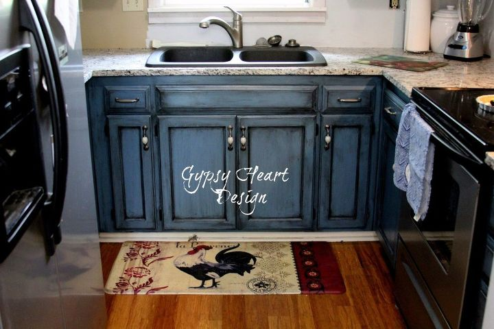 blue kitchen cabinet project