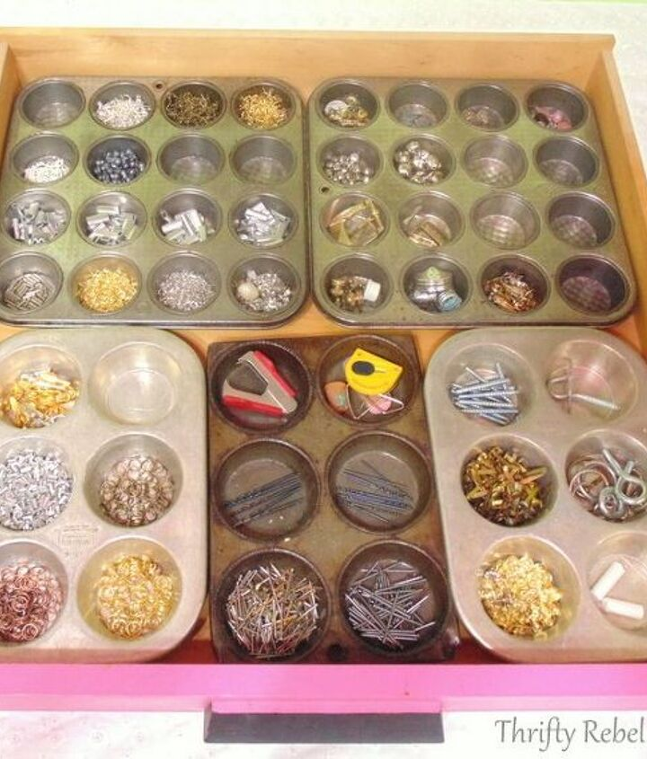 s 30 clever ideas to reuse muffin pans and cupcake liners, Organize Your Drawers