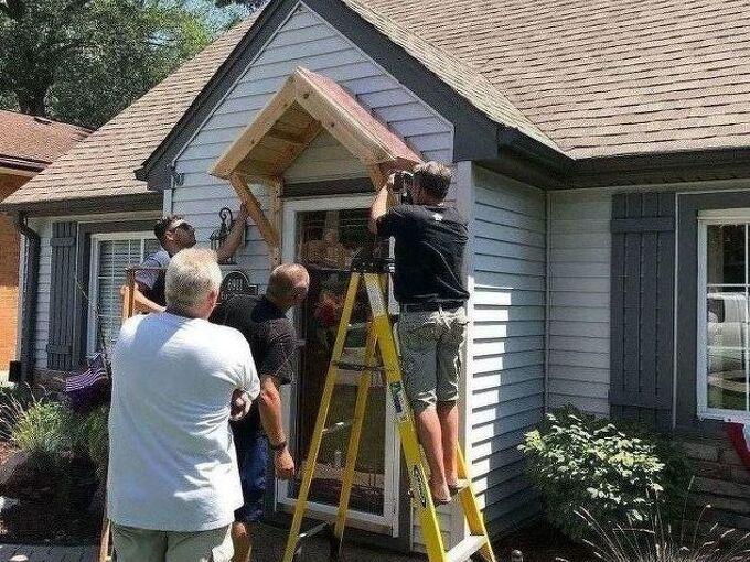 front door coppertop cedar awning