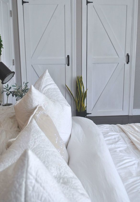 s 15 brilliant ways to makeover your drab bedroom, Do Farmhouse Closet Doors Affordably