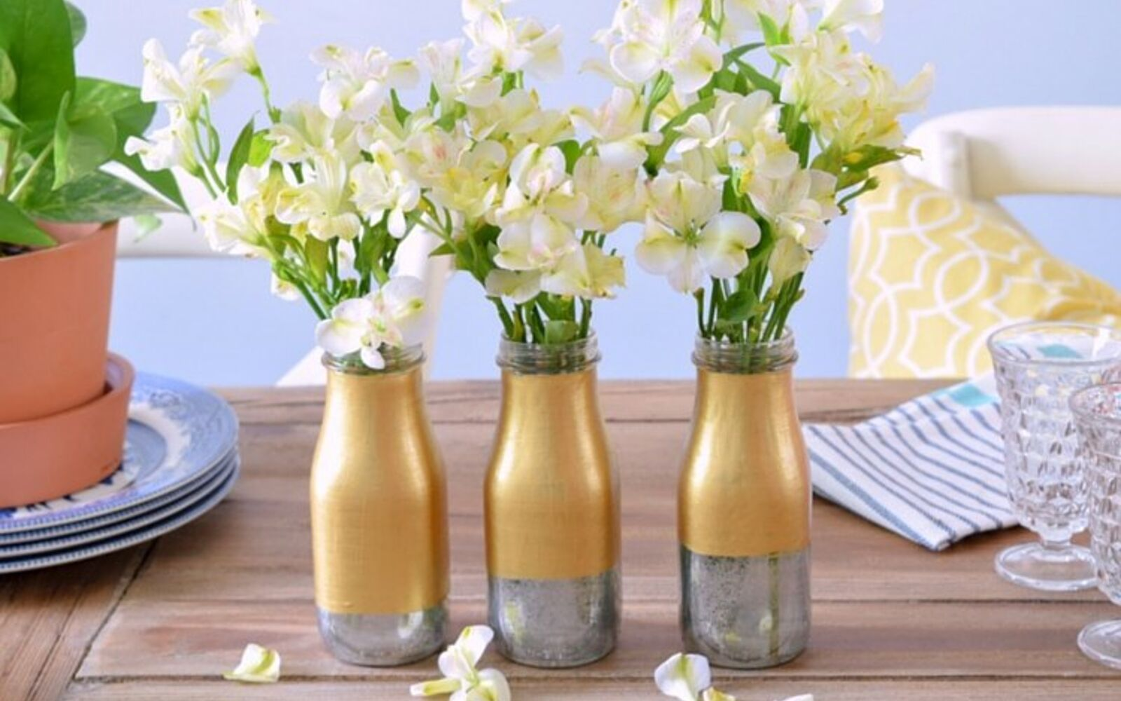 s 15 incredible vases you can make for your bestie on a budget, Paint A Two Toned Mercury Milk Bottle