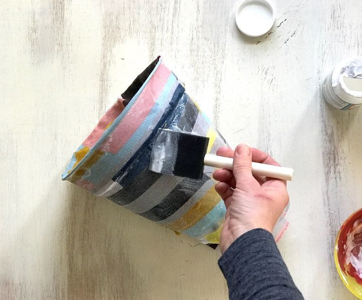 s 15 incredible vases you can make for your bestie on a budget, Decoupage A Scarf Around A Pot