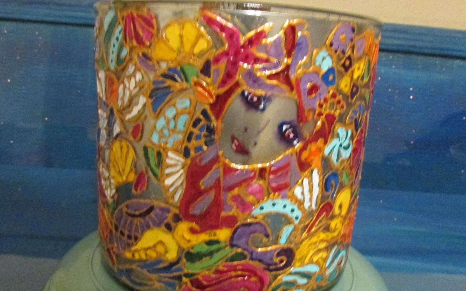 s 15 incredible vases you can make for your bestie on a budget, Stain Glass With Mermaid Designs