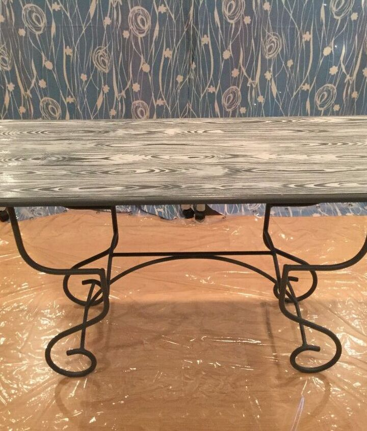faux wood grain table