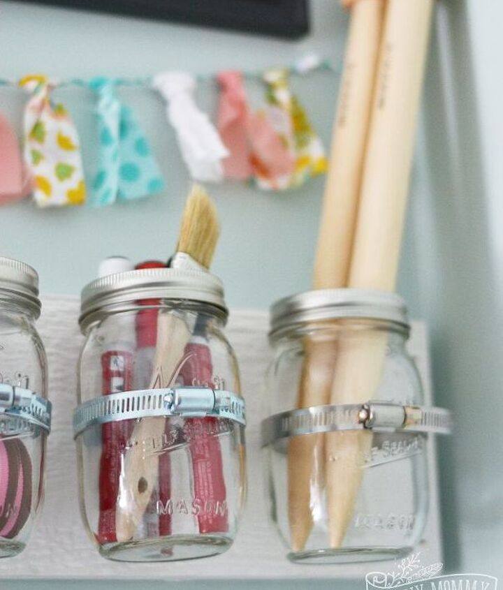 s 30 gorgeous ways to keep your home organized, Clean Up Your Craft Room With Mason Jars