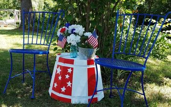 table for 2 in red white and blue