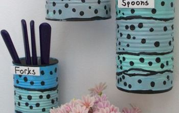 crafts with cans tin can utensil holder and vase