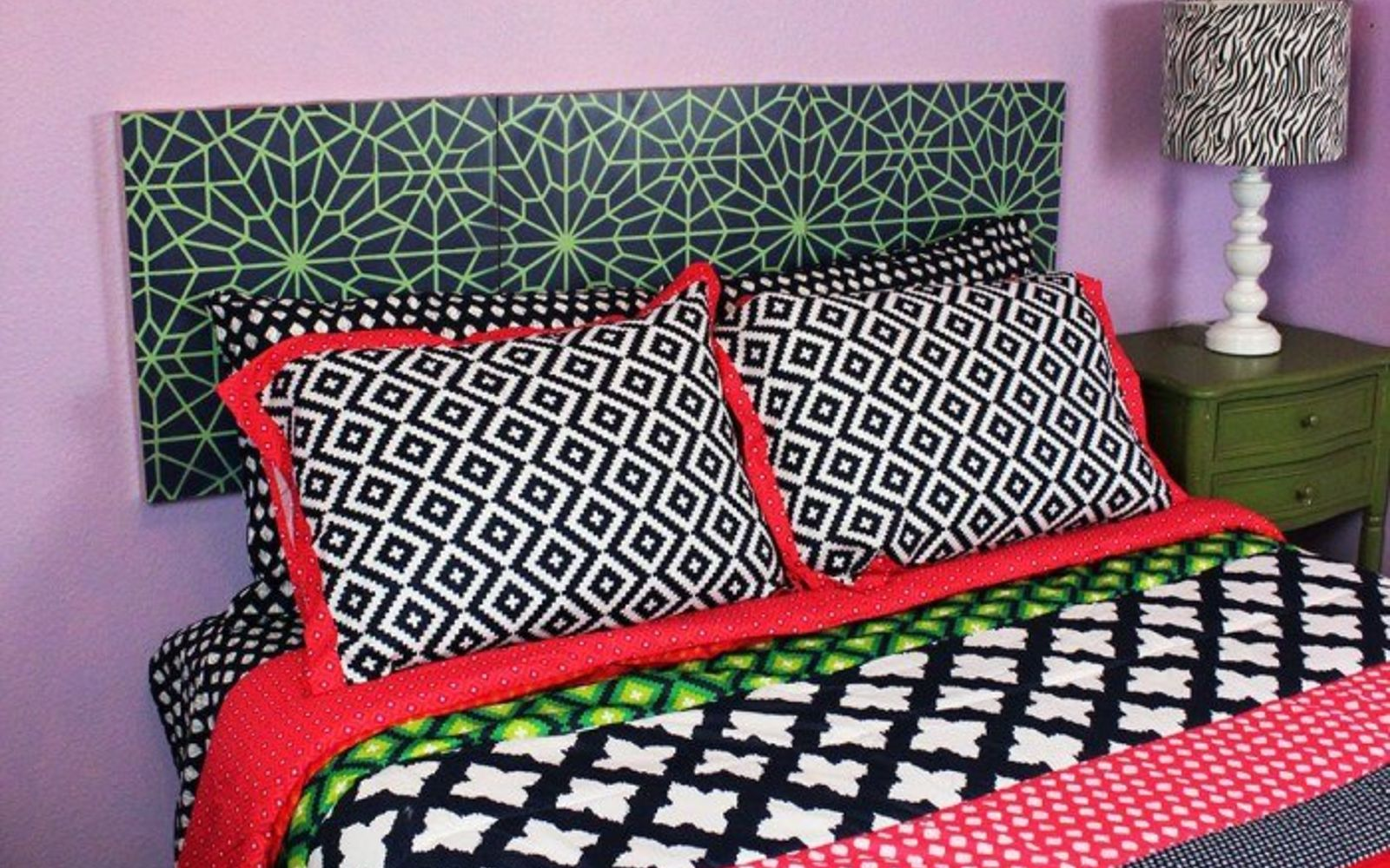 s these are the diy headboard ideas you ve been dreaming of, Stencil An Intricate Stylish Pattern