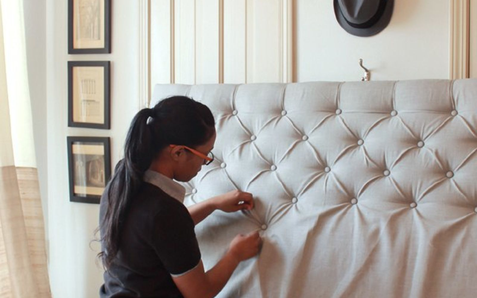 s these are the diy headboard ideas you ve been dreaming of, Create Vintage Tufted Diamonds