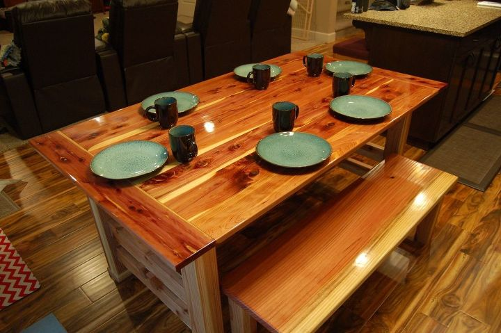 s 15 ways to diy your dream dining room table for half the price, Chisel Tennessee Red Cedar Into A Table