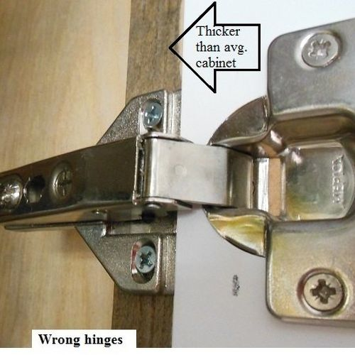 cabinets hinges. this is probably why the installer used wrong (frameless) hinges. they work but look ugly and restrict my ability to reach deep into cabinets without hinges