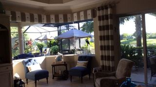 , Cornices and two side drapes Made from foam board and shower curtains