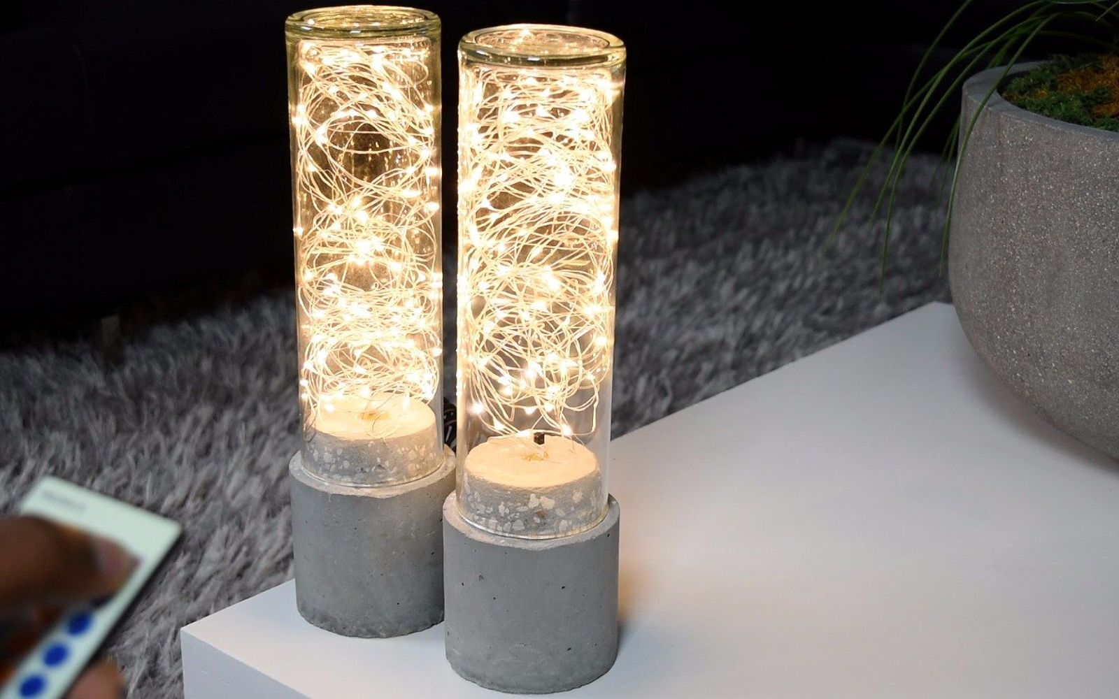 s 10 clever ways to use concrete for anything, Turn On Lights In A Cement Lamp