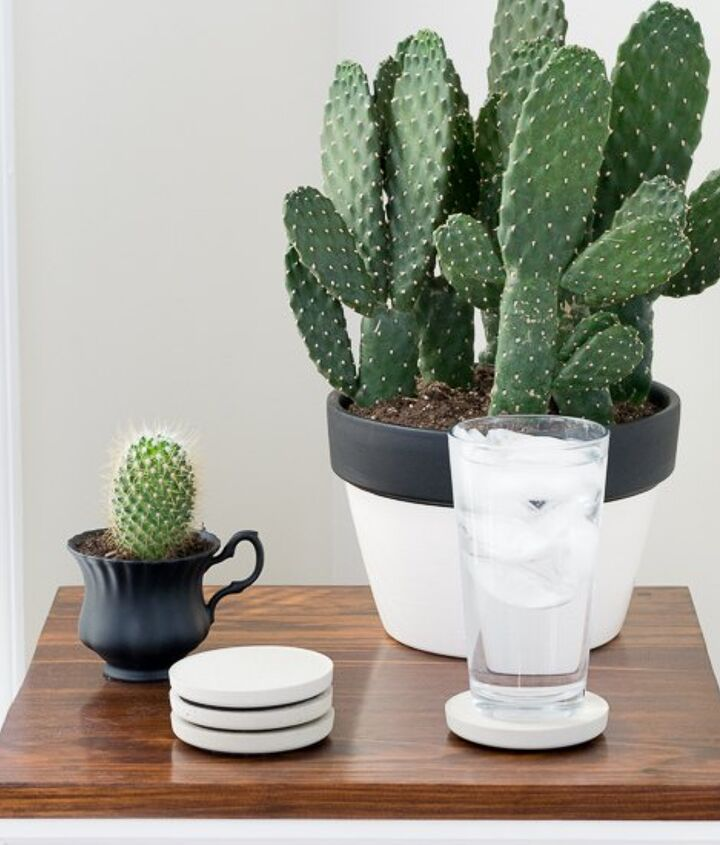 s 10 clever ways to use concrete for anything, Rest Your Drink On A Concrete Coaster