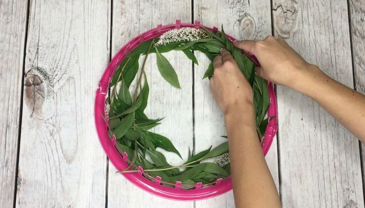 dollar store basket turned wreath form