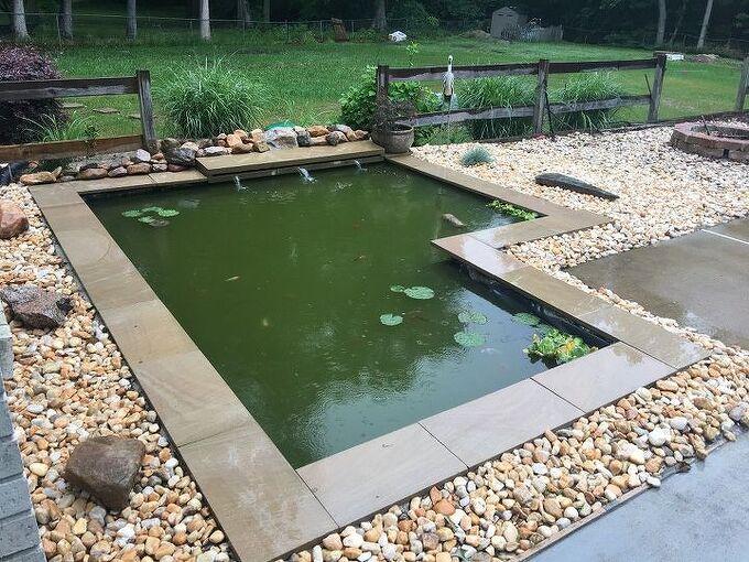 DIY Modern Backyard Koi Pond On A Budget | Hometalk on small backyard designs, slope landscaping on a budget, landscaping on a tight budget, small backyard patio landscaping ideas, small backyard garden, backyard decorating ideas on a budget,