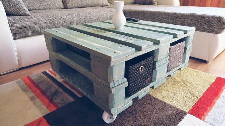 s 15 home decor projects to instantly transform your living room, Build A Vintage Pallet Coffee Table