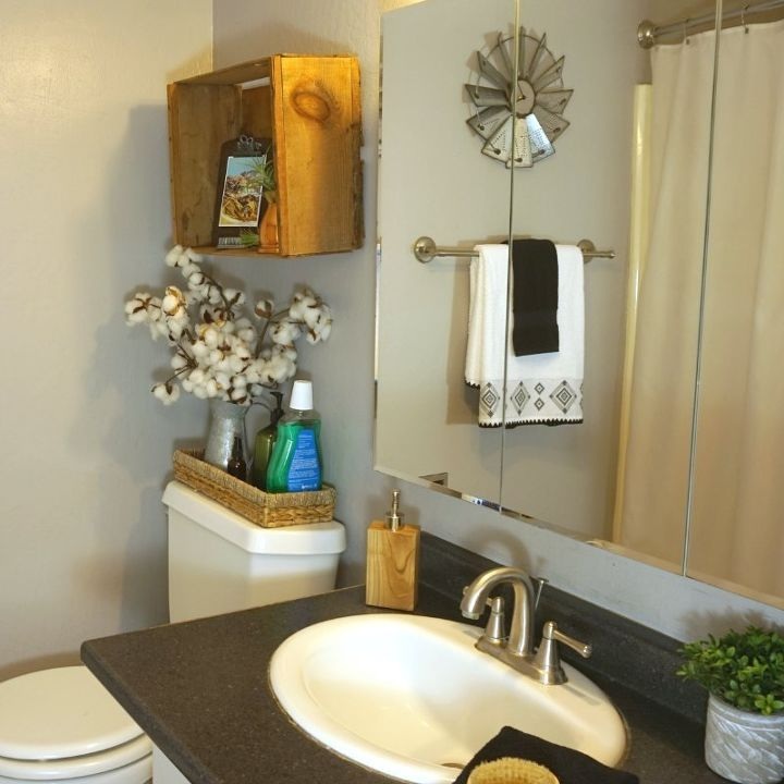 How To Organize Update A Small Farmhouse Bathroom For Summer
