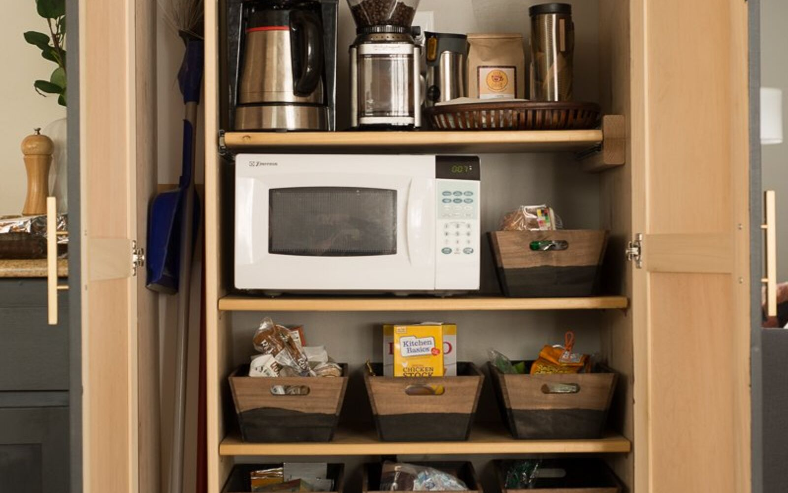 s 15 pinterest worthy pantries that eliminate search time for your favo, Carve A Section For Your Favorite Coffee